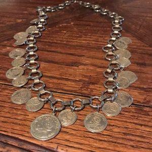 """Silver tone 30"""" coin necklace with Balboa"""